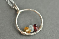 mother's grandmother's birthstone necklace 3 stones genuine gemstones sterling silver