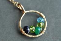 mother's grandmother's birthstone necklace 5 stones genuine gemstones 14k gold filled