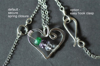 OPEN HEART custom mother's birthstone necklace (2 stones)