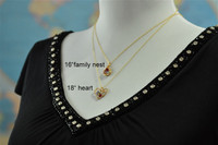 OPEN HEART custom grandmother's / mother's birthstone necklace (6 stones)