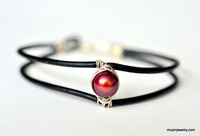 pearl and leather cuff bracelet - choose from 22 colors