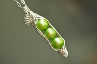 three peas in a pod necklace with green freshwater pearls | muyinjewelry.com