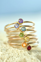 Solid 14k Gold Custom Birthstone Ring - natural gemstone ring, tiny stacking ring