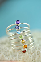 chakra rings, rainbow stacking ring set   muyinjewelry.com