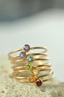 14k gold rainbow gemstone rings, chakra rings | muyinjewelry.com