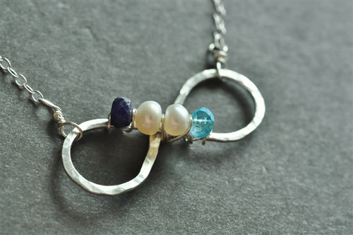 infinity mother's birthstone necklace genuine gemstones