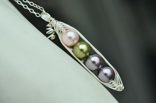 custom birthstone color pearl pea pod necklace - muyinjewelry.com