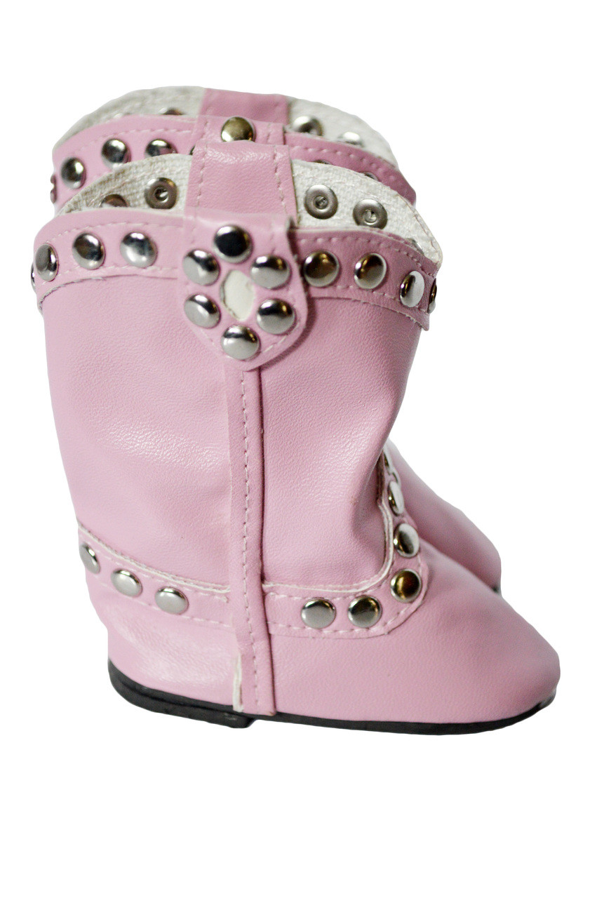 """Pink Stud Western Boots Fits 14.5/"""" Wellie Wisher American Girl Clothes Shoes"""