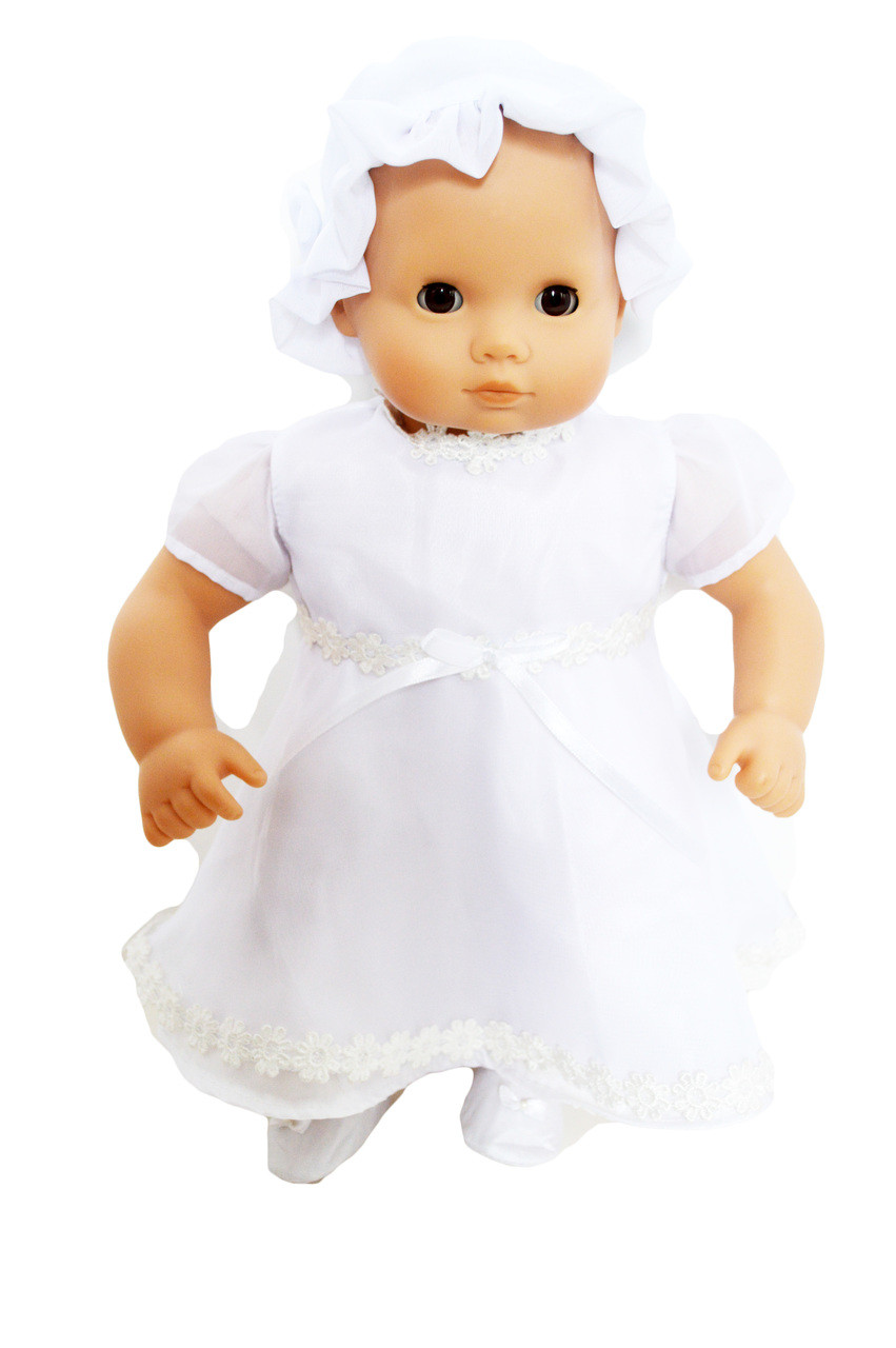 Doll Clothes Baby Made 2 Fit American Girl fit 15 Bitty Christening Gown Bonnet