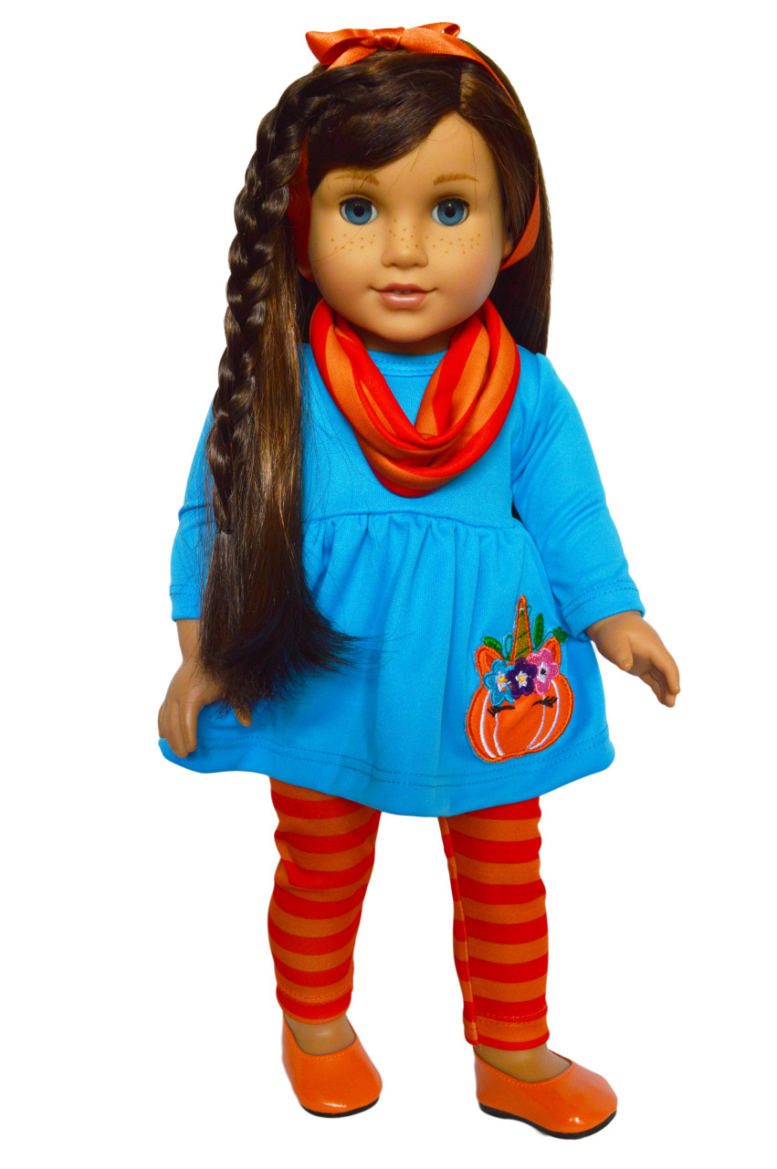 52f925d45ed73 Unicorn Pumpkin Outfit for American Girl Dolls, My Life as Dolls- 18 Inch  Doll Clothes