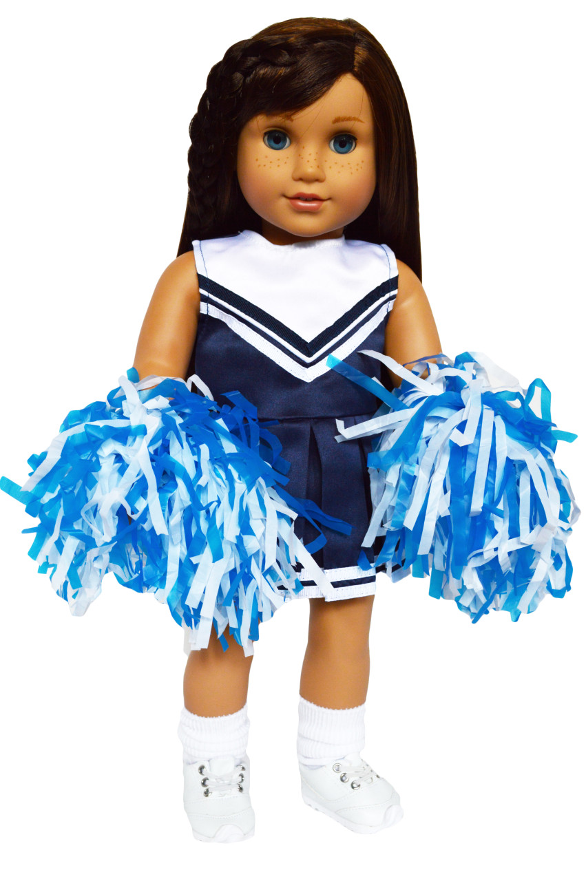"""Blue Cheerleader Uniform Costume w Poms for American Girl 18/"""" Doll Clothes"""