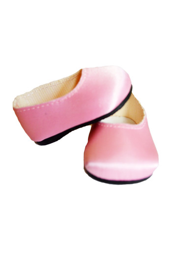 Pink Satin Flats for Wellie Wisher Dolls
