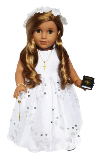 3fec8b10fa11 My Brittany's Communion Gown with Sequin Bottom for American Girl Dolls- 18  Inch Doll Clothes