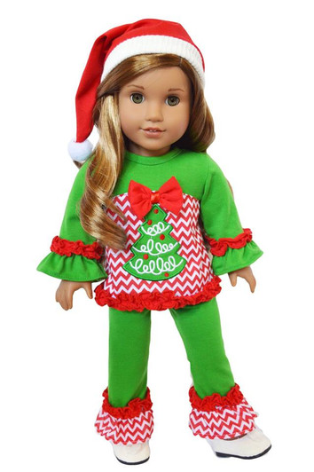 Fashion Christmas Suit For 18 inch Girl Doll Clothes K9O0
