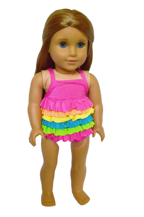 RAINBOW FRILL SWIMSUIT FOR AMERICAN GIRL DOLLS