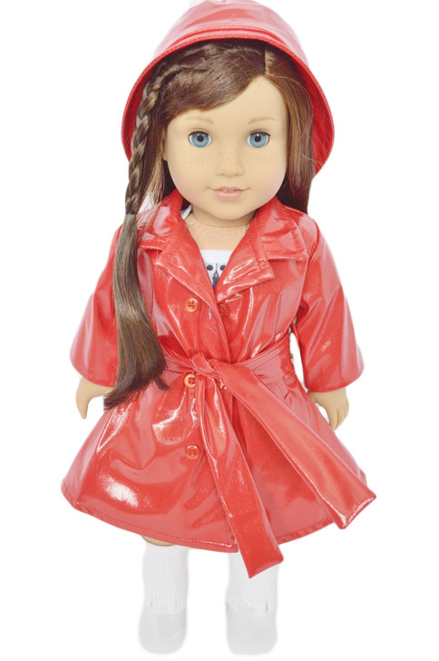 ✿RED RAINCOAT WITH BELT FOR AMERICAN GIRL DOLLS✿