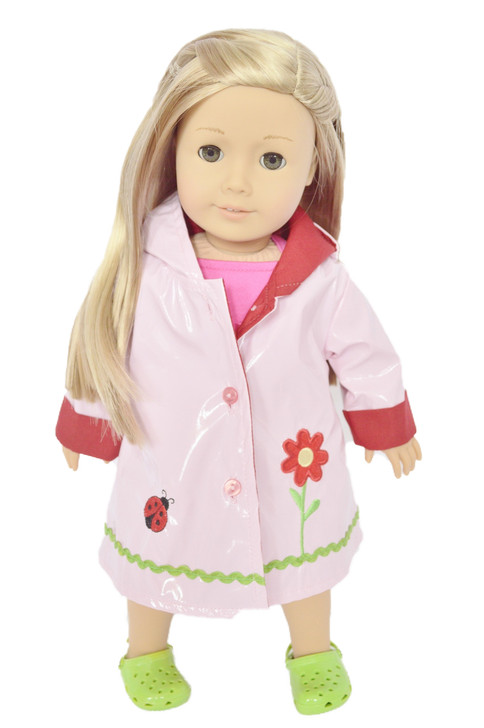 ✿PINK FLOWER RAINCOAT FOR AMERICAN GIRL DOLLS✿