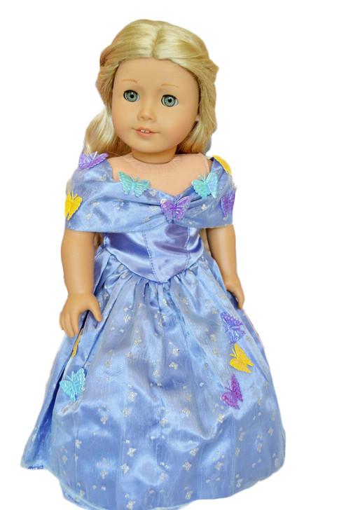 Butterfly Princess Cinderella Gown for American Girl Dolls, Our Generation Dolls and My Life as Dolls