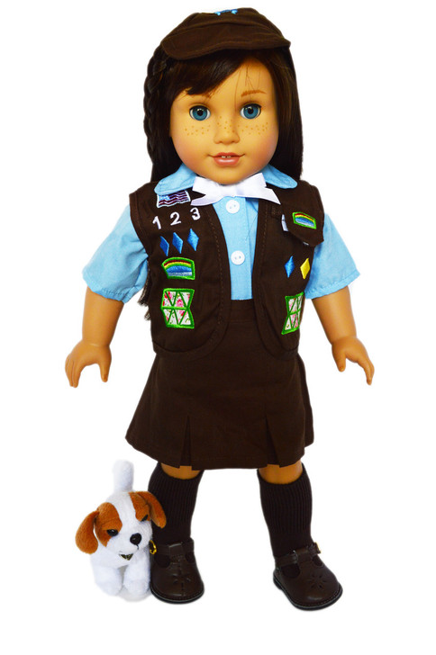 Why  Pay More? My Brittany's Girl Scouts Brownie Outfit for American Girl Dolls-Skirt Vest