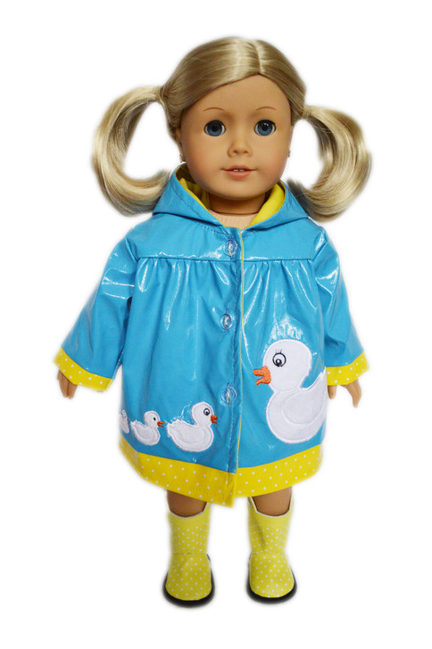 Duck Duck Goose Raincoat and Boots for American Girl Dolls