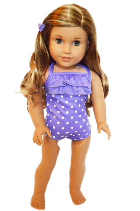 Purple Dot Swimsuit For American Girl Dolls
