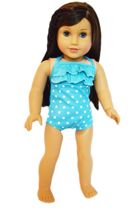 Cyan Blue Polka Dot Swimsuit for American Girl Dolls