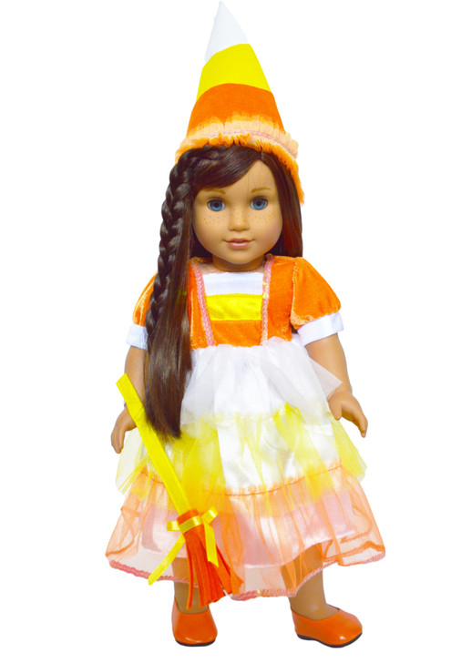 Candy Corn Witch Costume for American Girl Dolls, Our Generation Dolls and My Life as Dolls