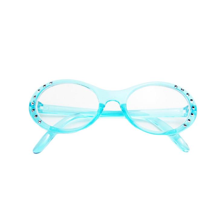 Cyan Blue Gem Glasses for American Girl Dolls
