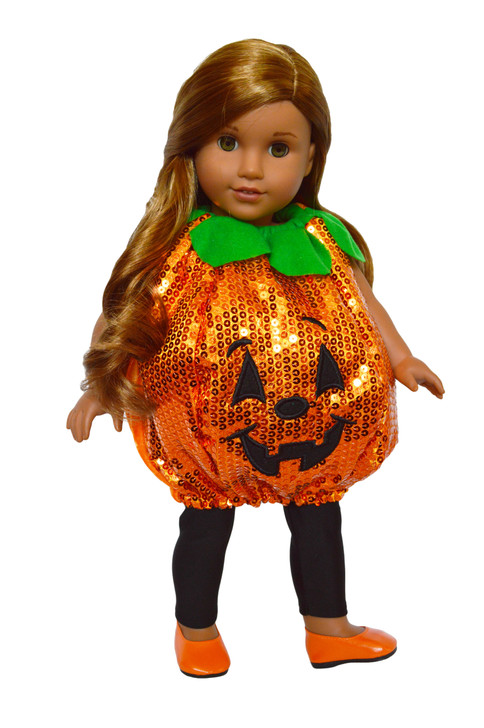 Sequin Pumpkin Costume For American Girl Dolls