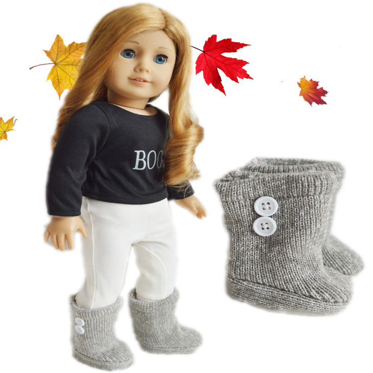 Khaki/Grey Button Boots For American Girl Dolls