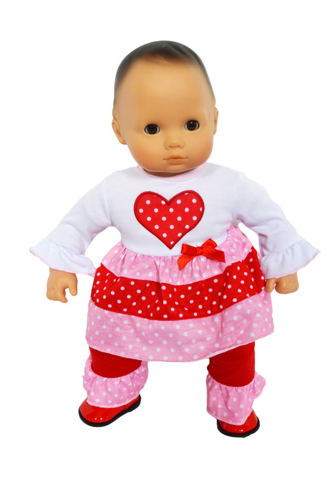 Hearts N Love Outfit for Bitty Baby Dolls- 15 Inch Doll Clothes