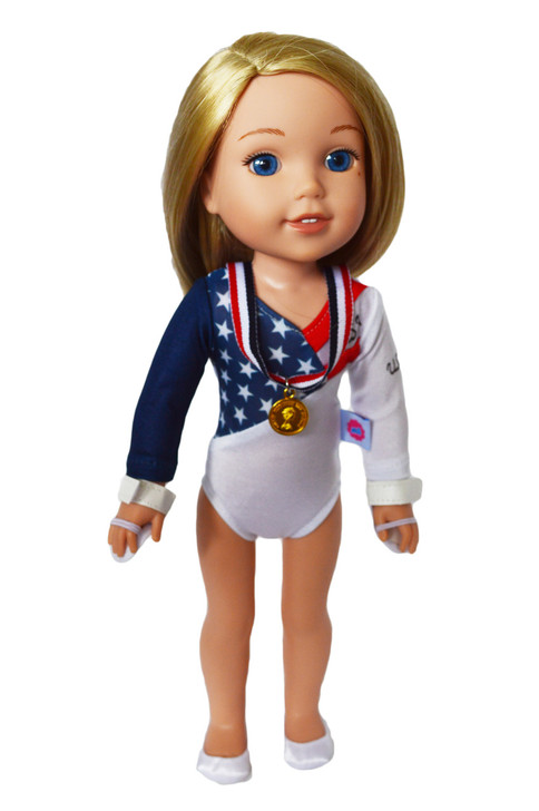 Olympic Gymnastics Outfit for Wellie Wisher Dolls