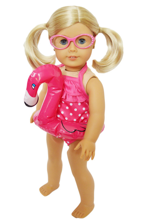 My Brittany's Hot Pink Dot Swimsuit with Flamingo Floatie and Glasses for American Girl Dolls