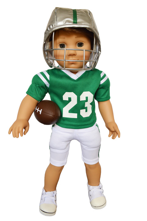 My Brittany's Spartans Green Football Outfit for American Girl Doll Logan