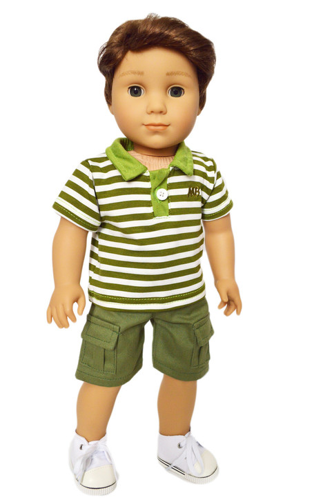 My Brittany's Army Green Polo and Shorts Set for American Girl  Boy Dolls