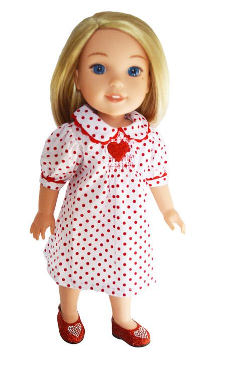 My Brittany's Valentines Day Heart Dress for Wellie Wishers -Glitter Girls-Hearts for Hearts Dolls