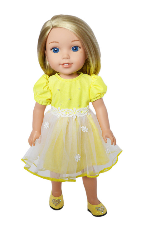 My Brittany's Easter Yellow Dress for Wellie Wisher Dolls-Glitter Girls- Hearts for Hearts Dolls