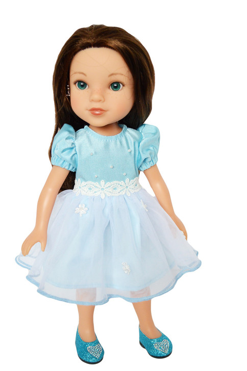 My Brittany's Easter Blue Dress for Wellie Wisher Dolls-Glitter Girl Dolls-Hearts for Hearts Dolls