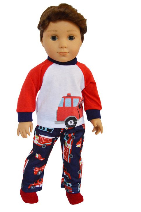 My Brittany's Fire Truck Pjs for American Girl Boy Dolls- 18 Inch Boy Doll Clothes