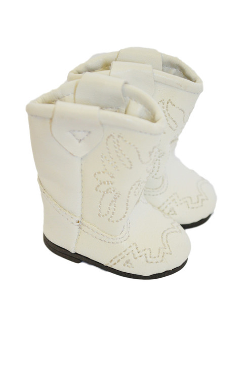 My Brittany's White Western Boots for Wellie Wisher Dolls- White Stitch- Also fits Glitter Girl Dolls- 14 Inch Doll Boots