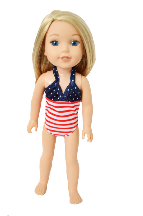 My Brittany's American Swimsuit for Wellie Wisher Dolls-Glitter Girl Dolls- Hearts for Hearts Doll- 14 Inch Doll Swimsuit