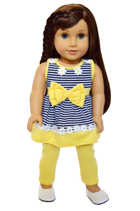 My Brittany's Summer Daises Leggings Set for American Girl Dolls- 18 Inch Doll Clothes