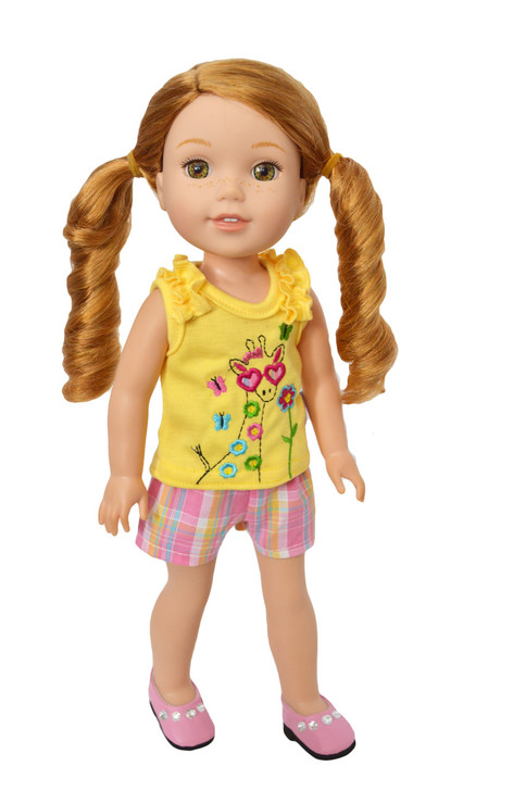 My Brittany's Giraffe Shorts Set for  Wellie Wisher Dolls- 14 Inch Doll Clothes