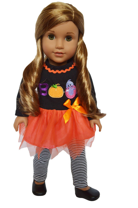 My Brittany's Fall Boo Leggings  Outfit For American Girl Dolls - 18 Inch Doll Clothes