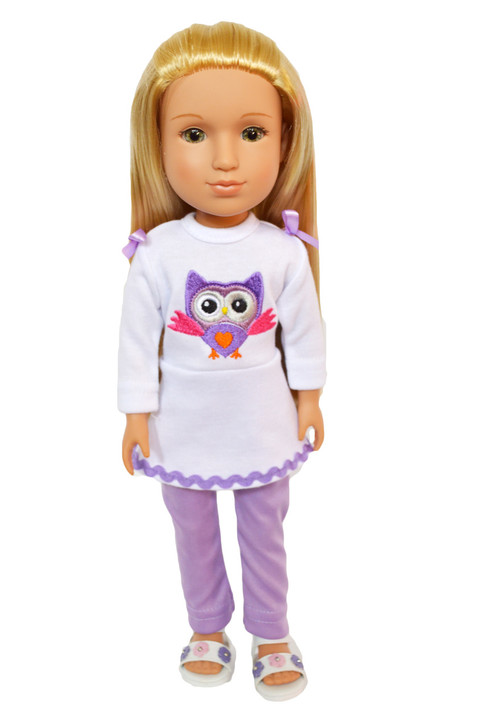 My Brittany's Lavender Owl Outfit for Wellie Wisher Dolls