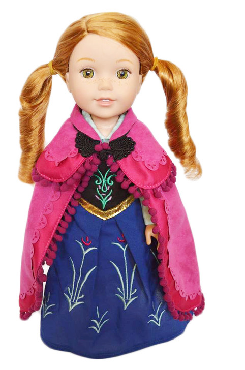 My Brittany's Anna Inspired Dutch Tulip Gown and Cape for Wellie Wisher Dolls, Glitter Girl Dolls and Heart for Hearts Dolls- 14 Inch Doll Clothes