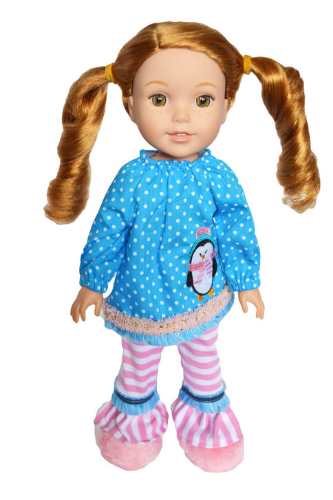 My Brittany's New Years Dotted Penguin Outfit for Wellie Wisher Dolls