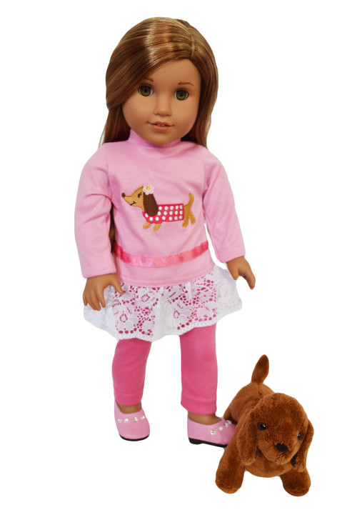 My Brittany's Dachshund Love Outfit for American Girl Dolls- 18 Inch Doll Clothes