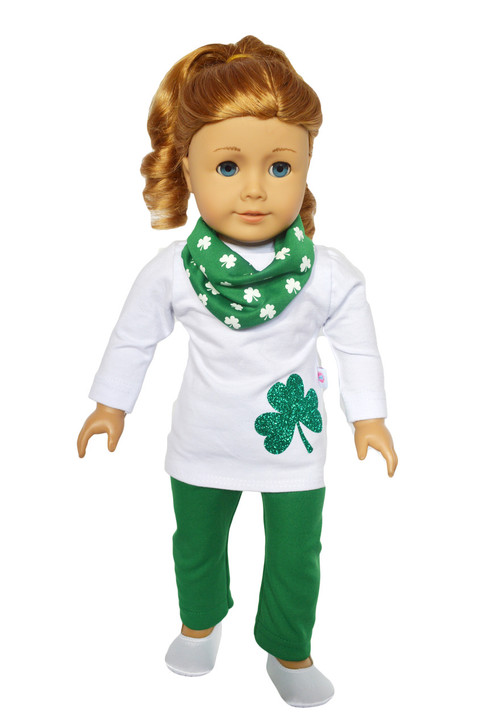 My Brittany's Irish Shamrock Outfit Compatible with American Girl Dolls- 18 Inch Doll Clothes