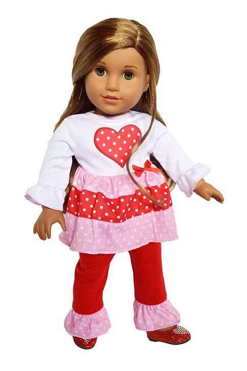 My Brittany's Hearts N Love Outfit Compatible with American Girl Dolls, Our Generation Dolls and My Life as Dolls- 18 Inch Doll Clothes